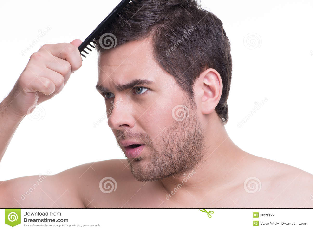 Happy Young Man Combing Hair Stock Photo Image Of Young