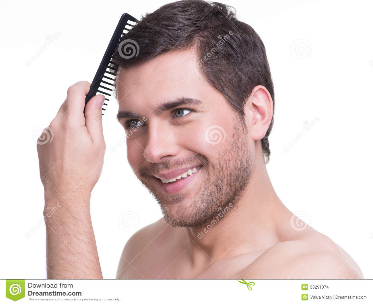 Happy Young Man Combing Hair Stock Photo Image Of Brush