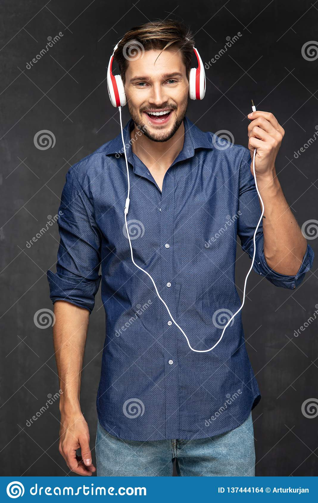Happy Young Man With Headphones Stock Photo Image Of Male