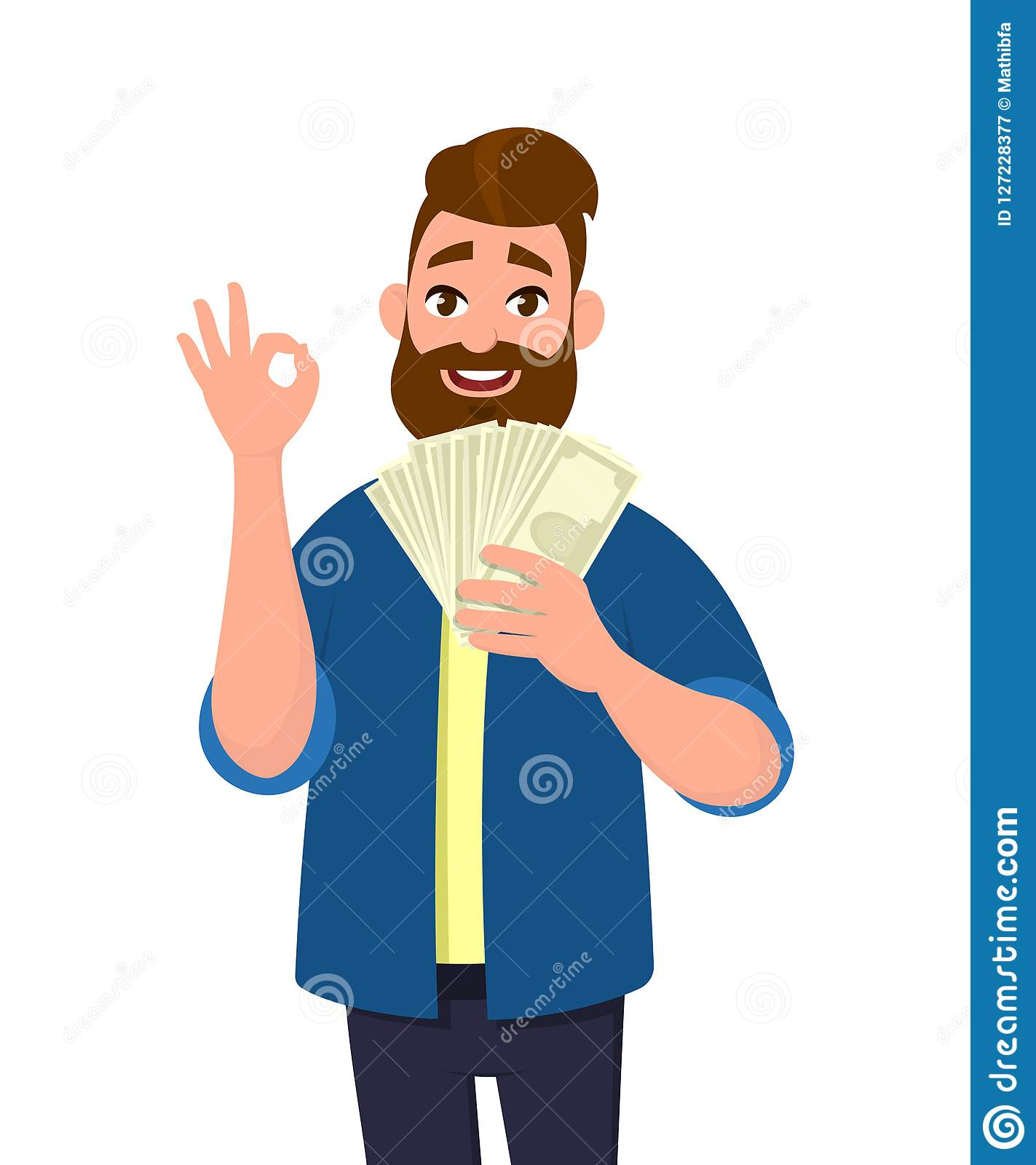 Happy young man holding cash/money/banknotes and gesture okay sign. Financial money concept. Human emotion concept illustration.