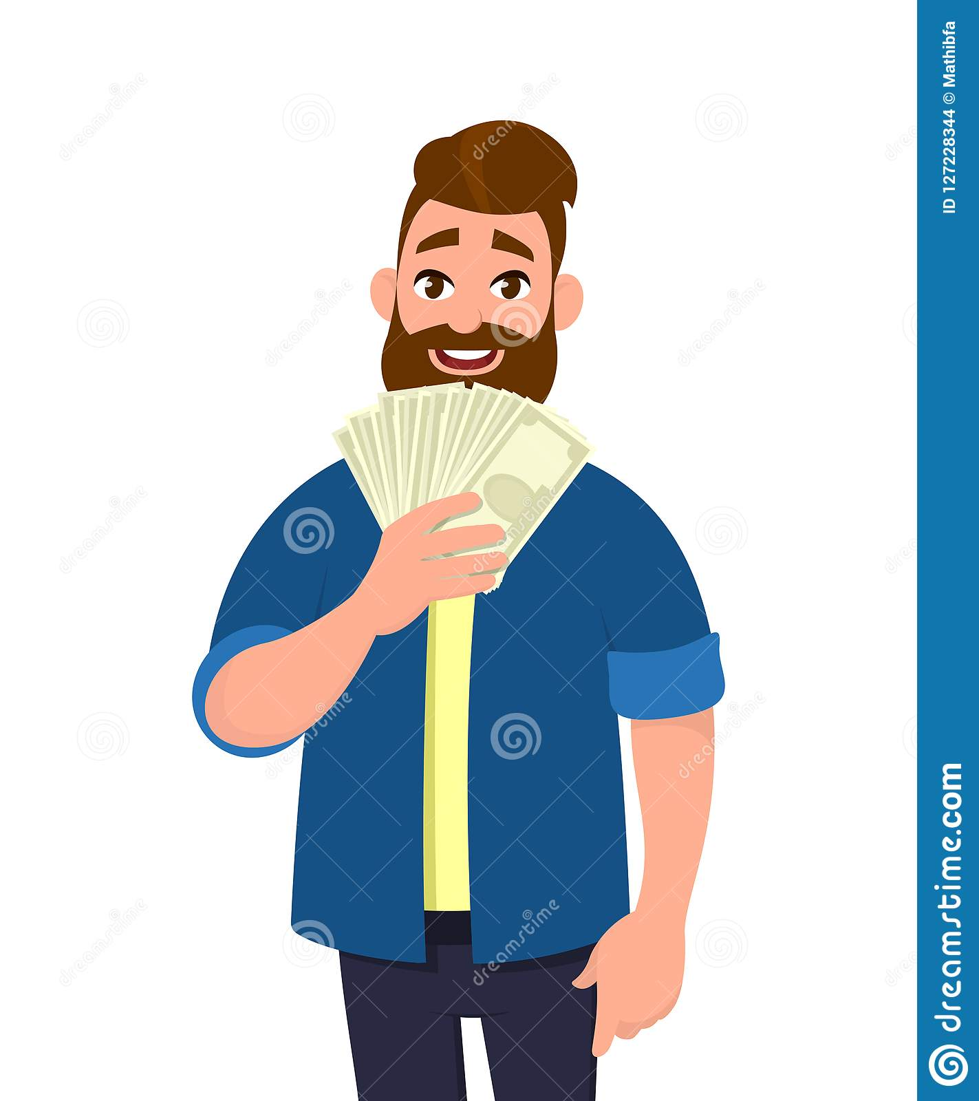 Happy young man holding cash/money/banknotes. Financial money concept. Human emotion and body language concept illustration.