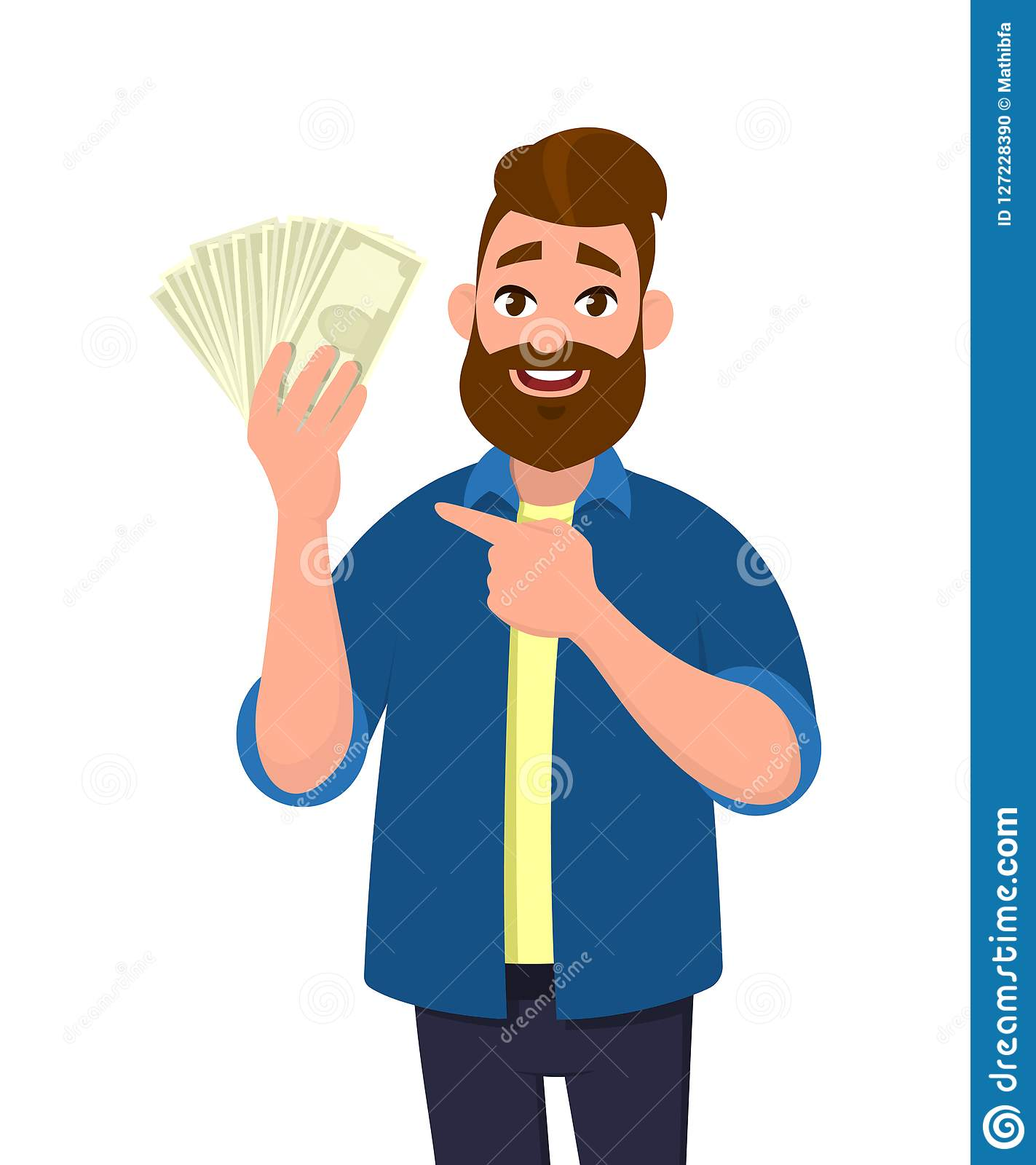 Happy young man holding cash/money/banknotes and pointing his index finger towards that. Financial money concept. Human emotion.