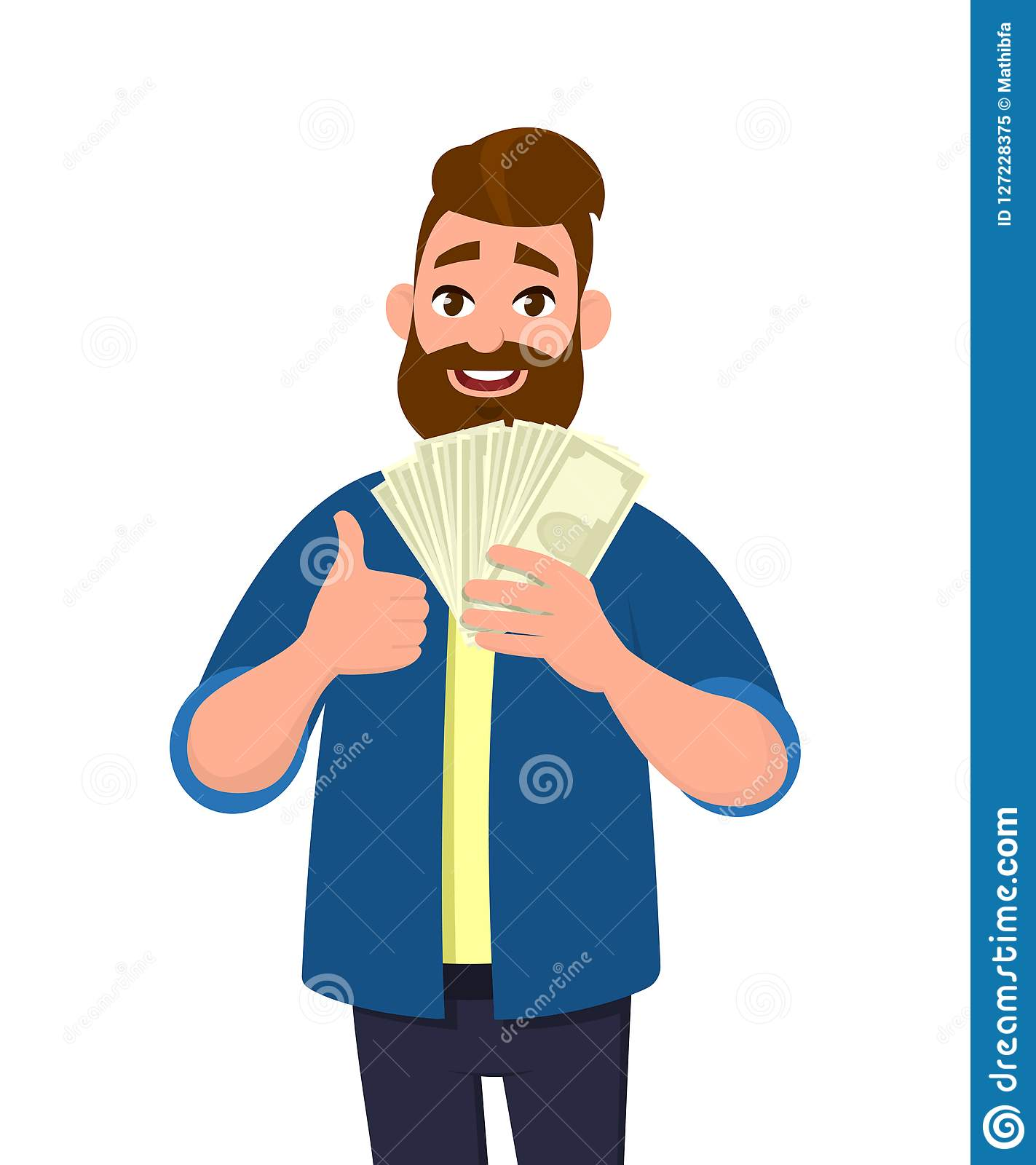 Happy young man holding cash/money/banknotes and showing thumbs up or like sign. Financial money concept. Human emotion concept.