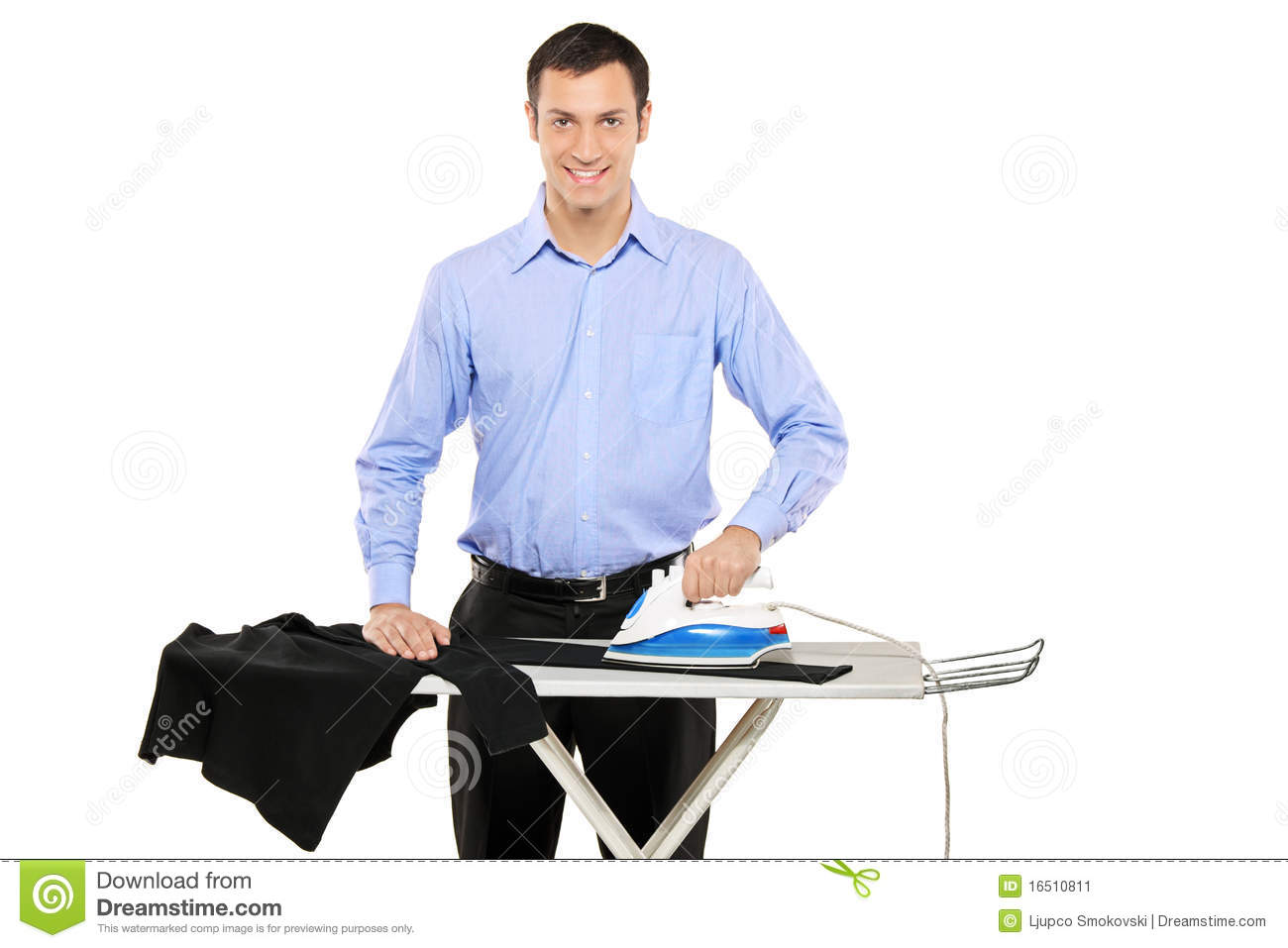 Happy Young Man Ironing His Clothes Stock Image Image