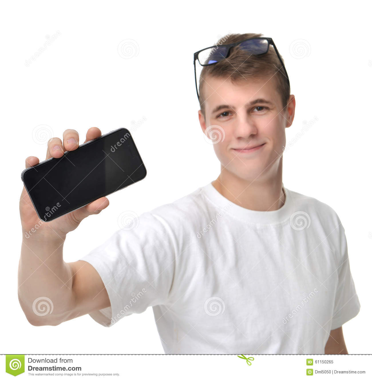 Man On Cell Phone : Young happy man with phone and laptop royalty free stock