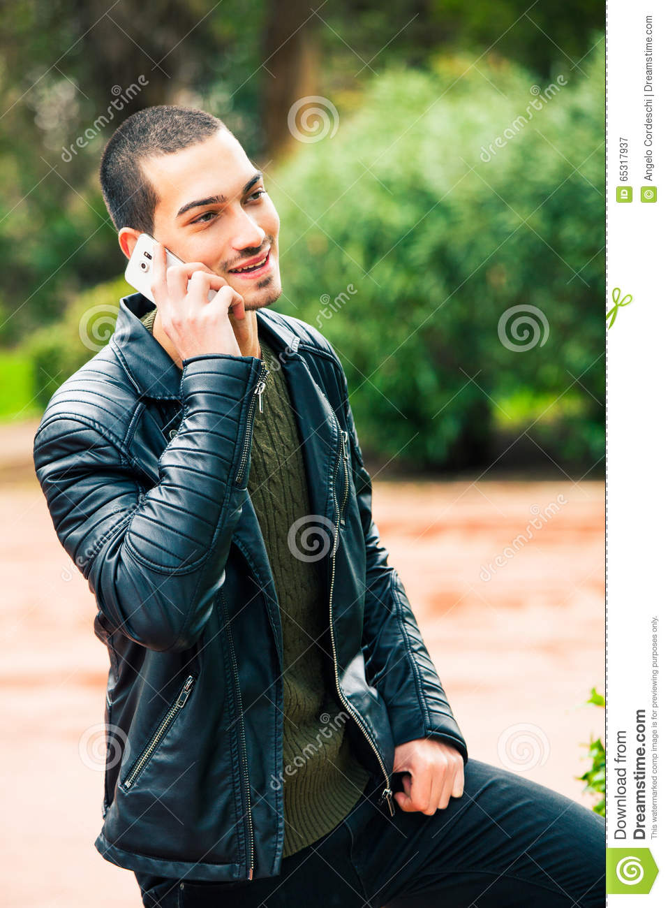 Young Happy Smiling African American Black Teen Girl With: Happy Young Man With Smartphone. Talking On The Phone