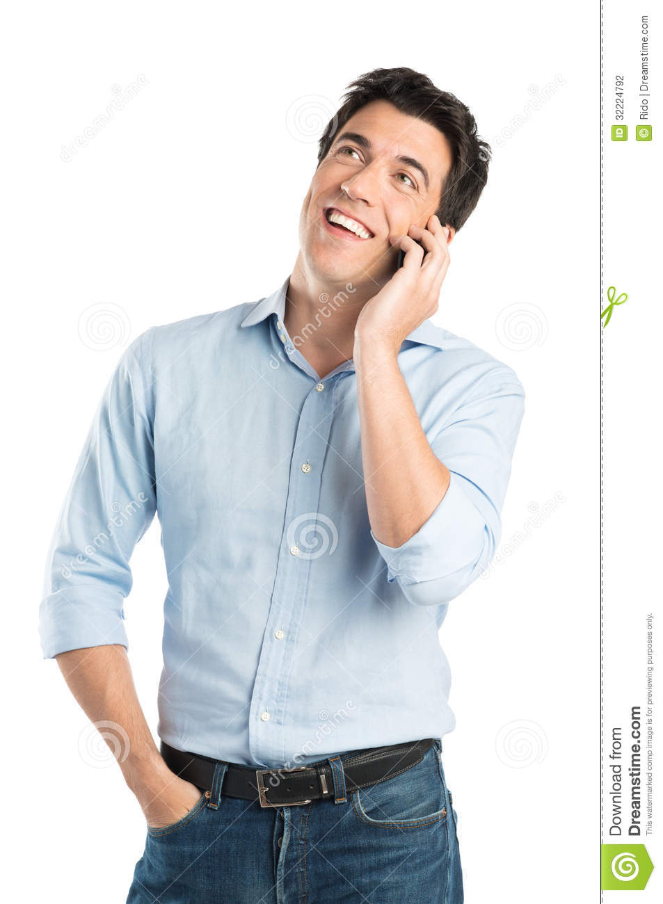 Man On Cell Phone : Happy young man talking on cell phone stock photo image