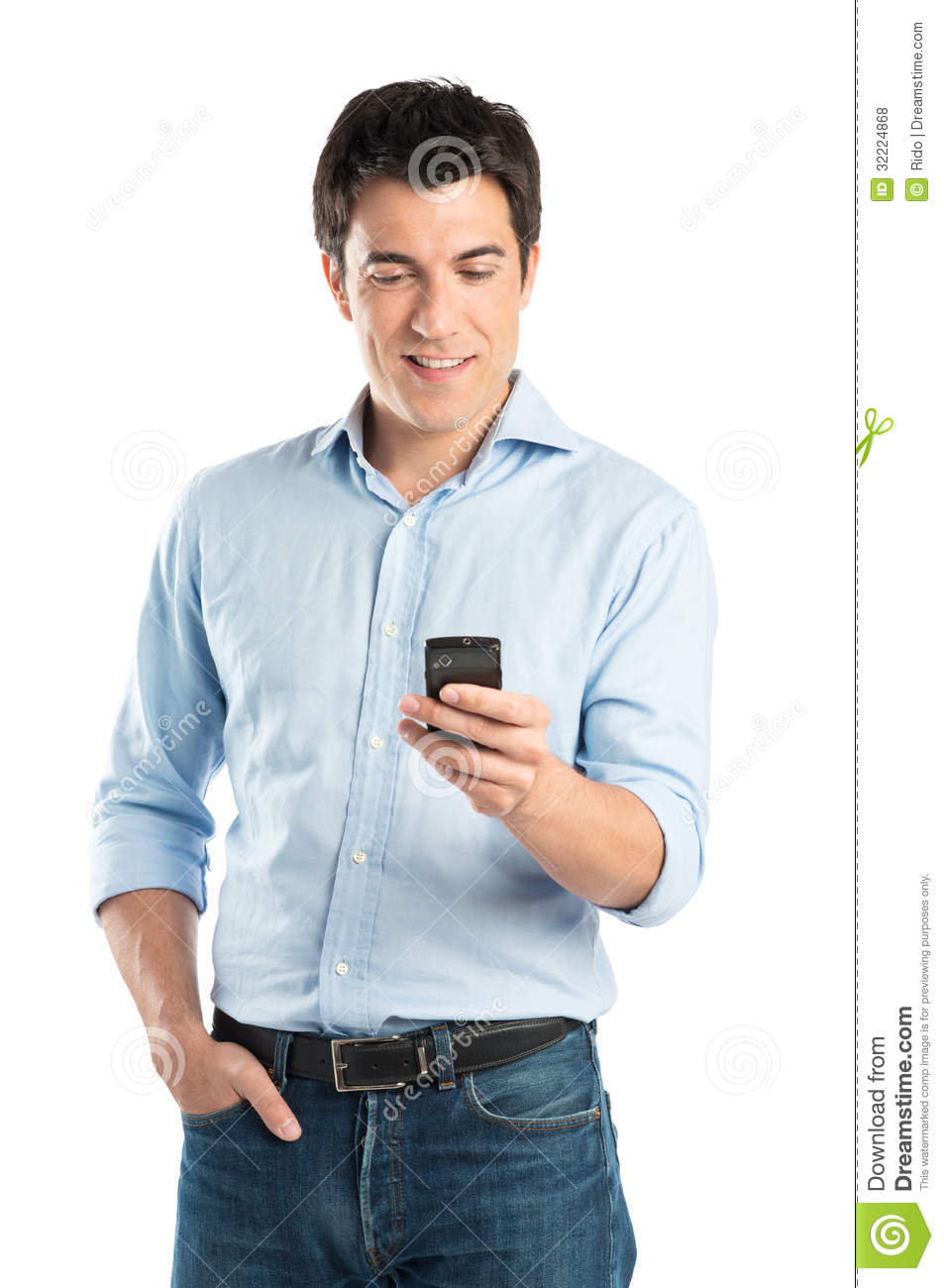 Man On Cell Phone : Happy young man using cell phone stock photo image of