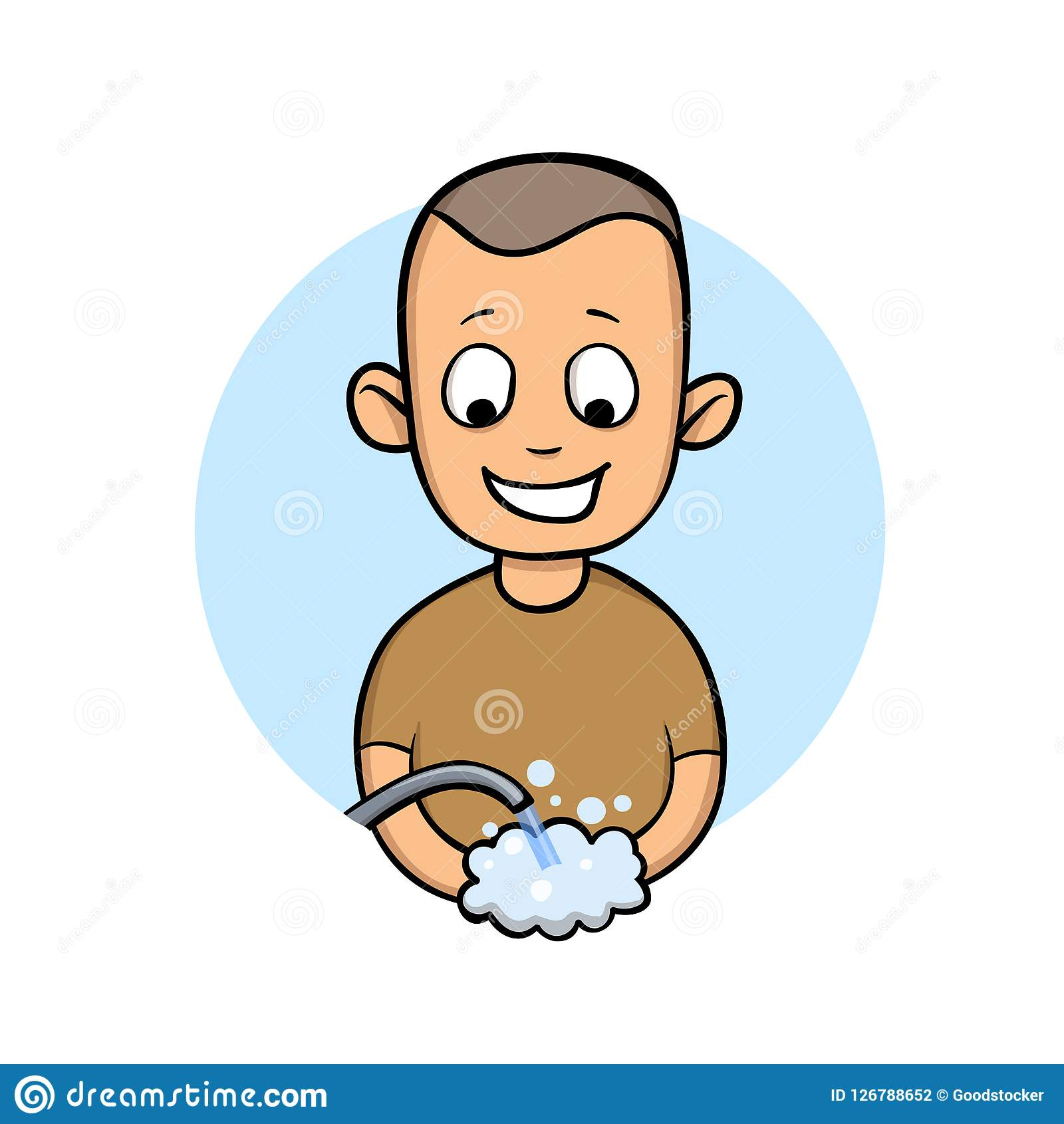 Happy young man washing hands. Smiled boy, vector cartoon illustration, isolated on white.