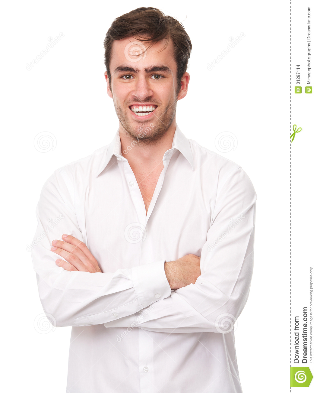 Happy Young Man In White Shirt Isolated Stock Images