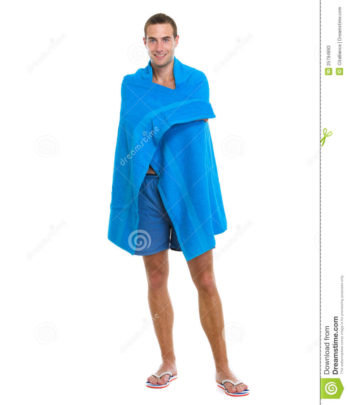 Personalised Beach Towel Pegs: Happy Young Man Wrapped In Beach Towel Stock Photos