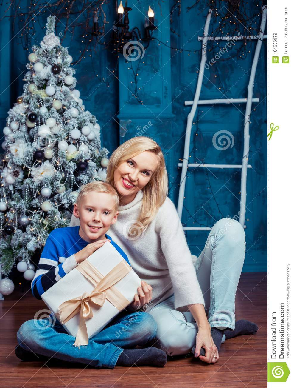 Mother and son at Christmas
