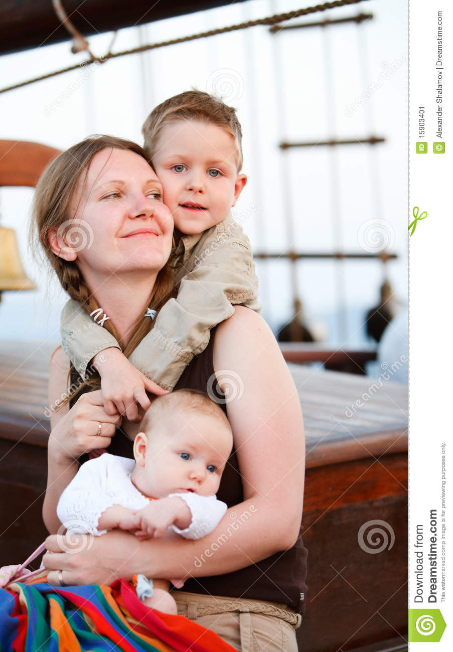 Happy young mother with two kids