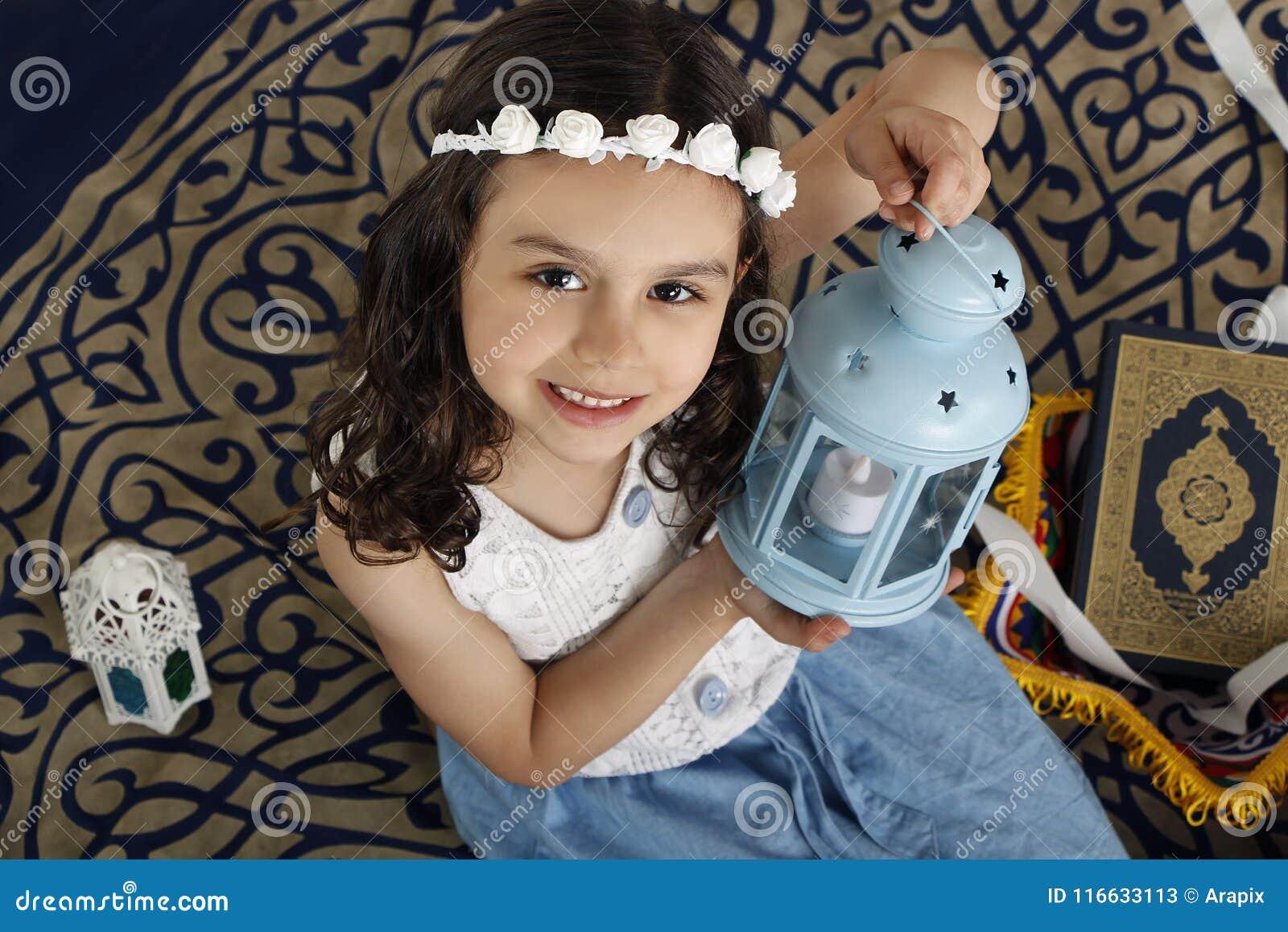 Happy Young Muslim Girl In Ramadan Stock Image - Image of quran