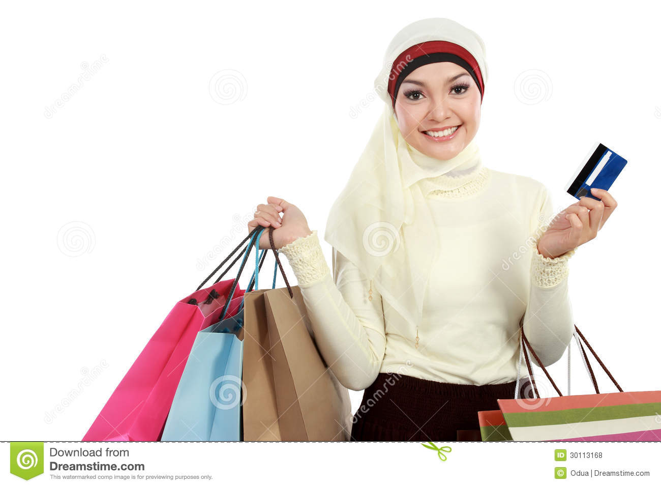 young muslim woman with shopping bag royalty free stock