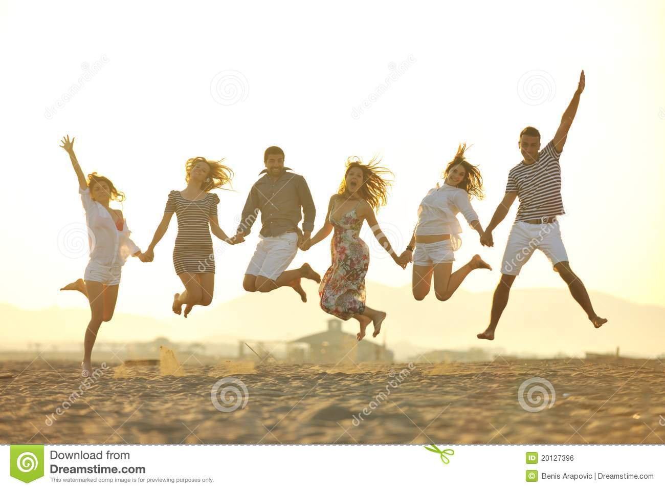 happy young people group have fun on beach stock photo image of