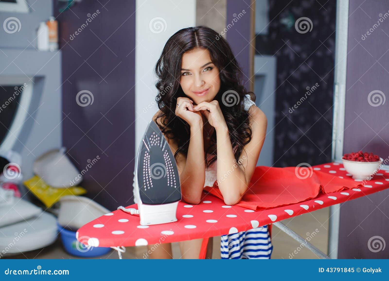 Happy Woman Ironing Royalty Free Stock Photo