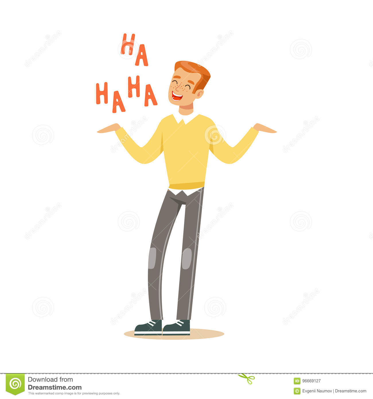 Happy young redhead man in an yellow pullover laughing out loud colorful character vector Illustration