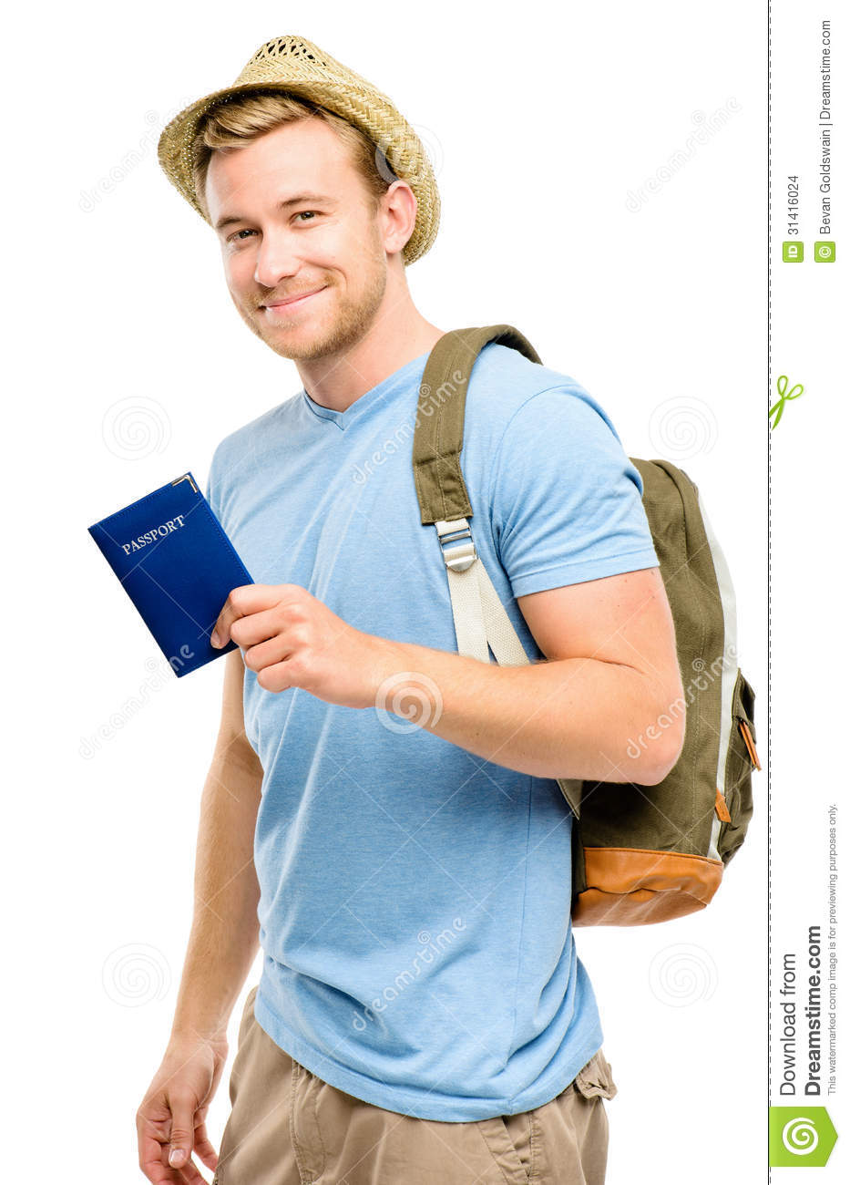Young Happy Smiling African American Black Teen Girl With: Happy Young Tourist Man Holding Passport White Background
