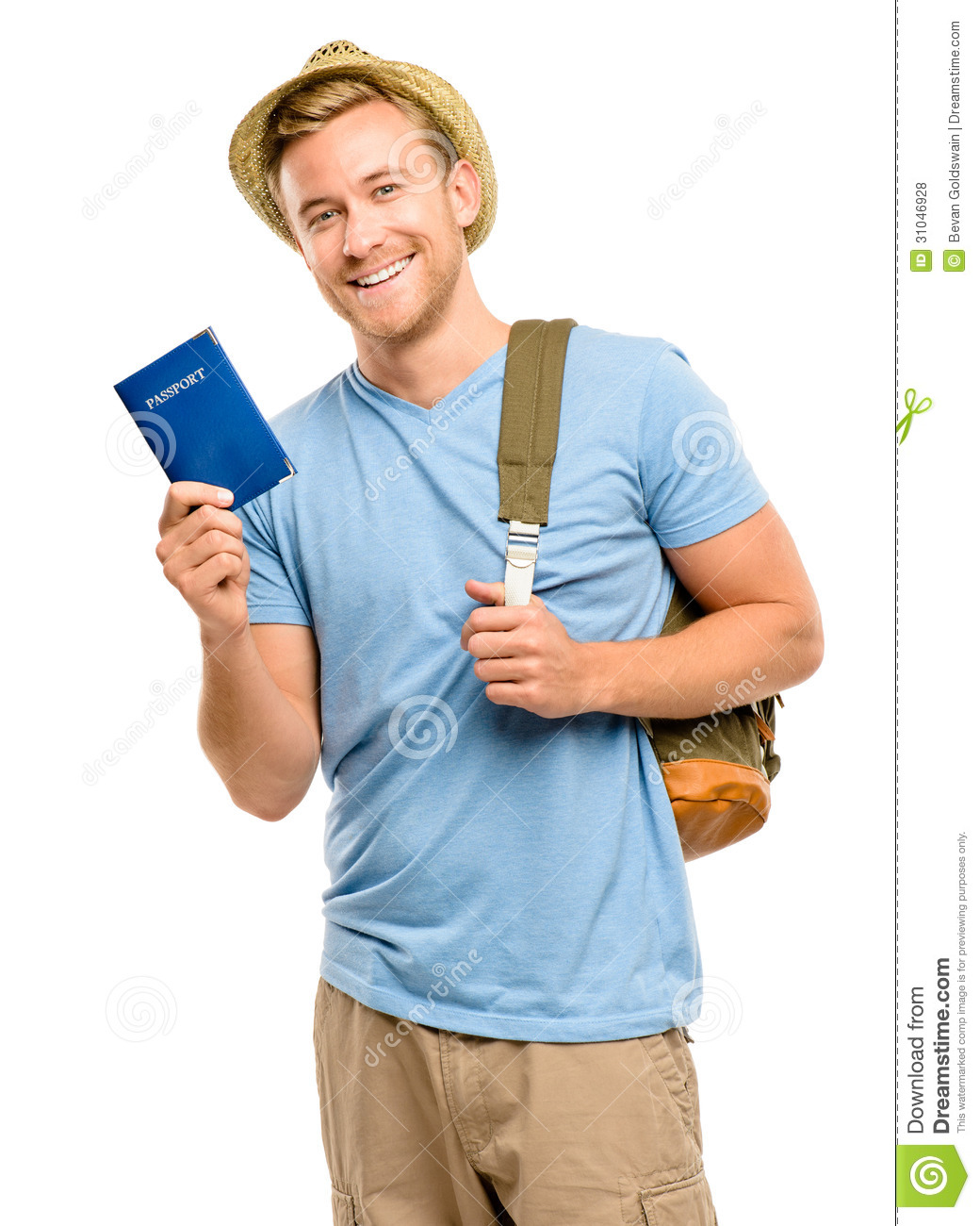 Happy Young Tourist Man Holding Passport White Background ...