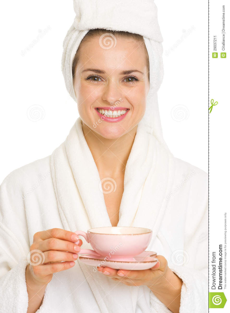 Young Happy Smiling African American Black Teen Girl With: Happy Young Woman In Bathrobe Holding Cup Of Tea Stock