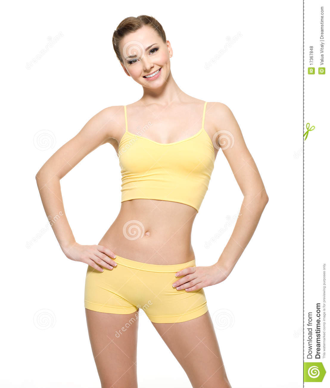 Happy young woman with beautiful slim body