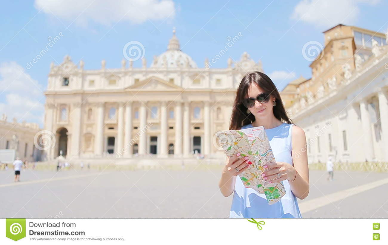 Happy Young Woman With City Map In Vatican City And St Peters