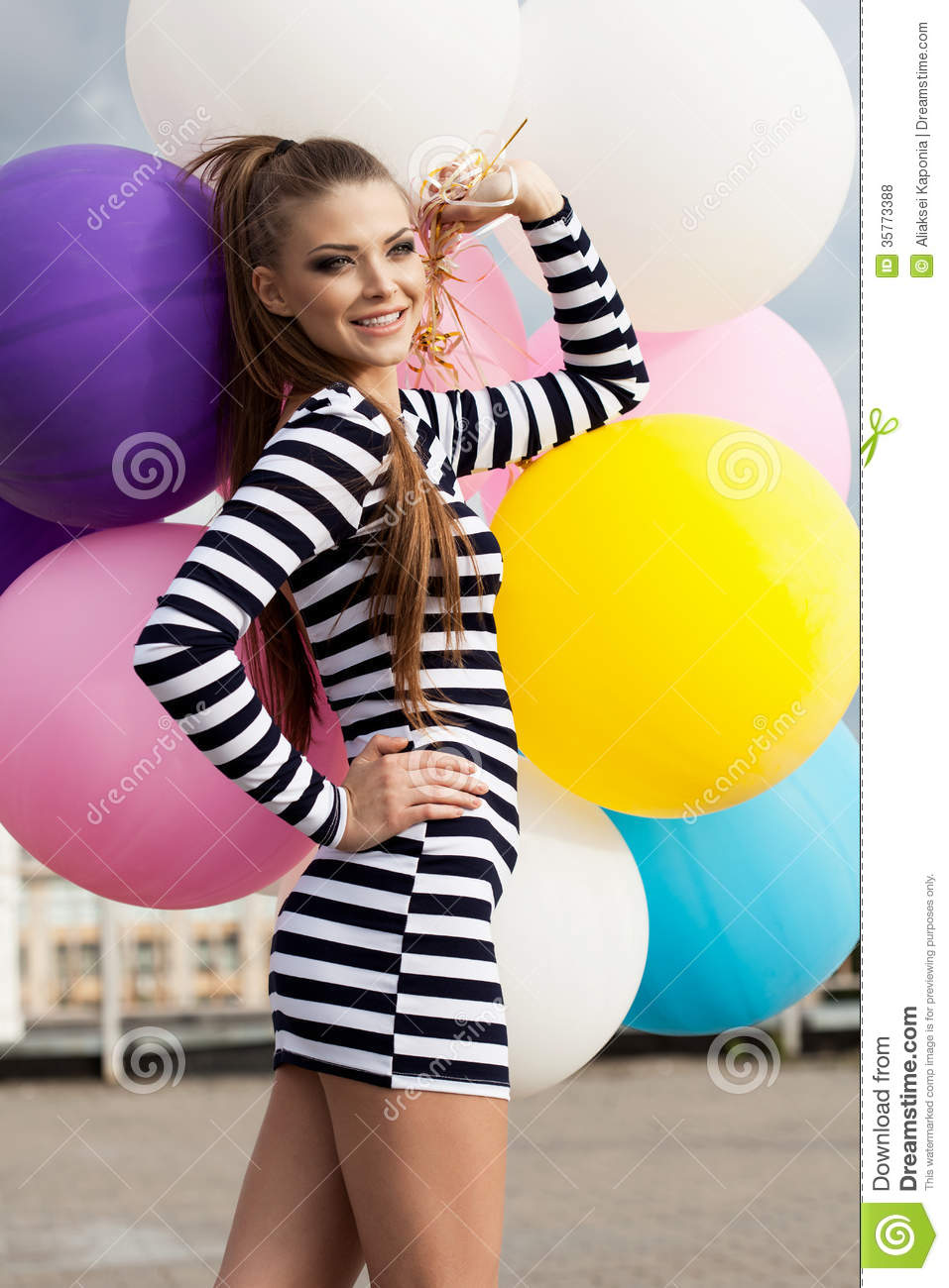 Young Happy Smiling African American Black Teen Girl With: Happy Young Woman With Colorful Latex Balloons Royalty