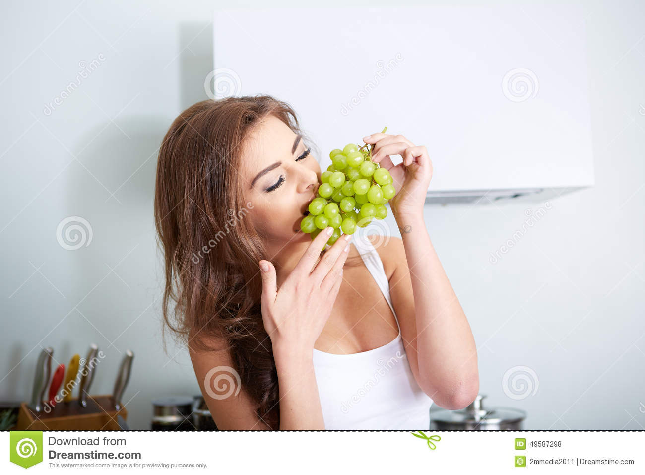 Happy Young Woman Eating Grape Stock Photo Image Of