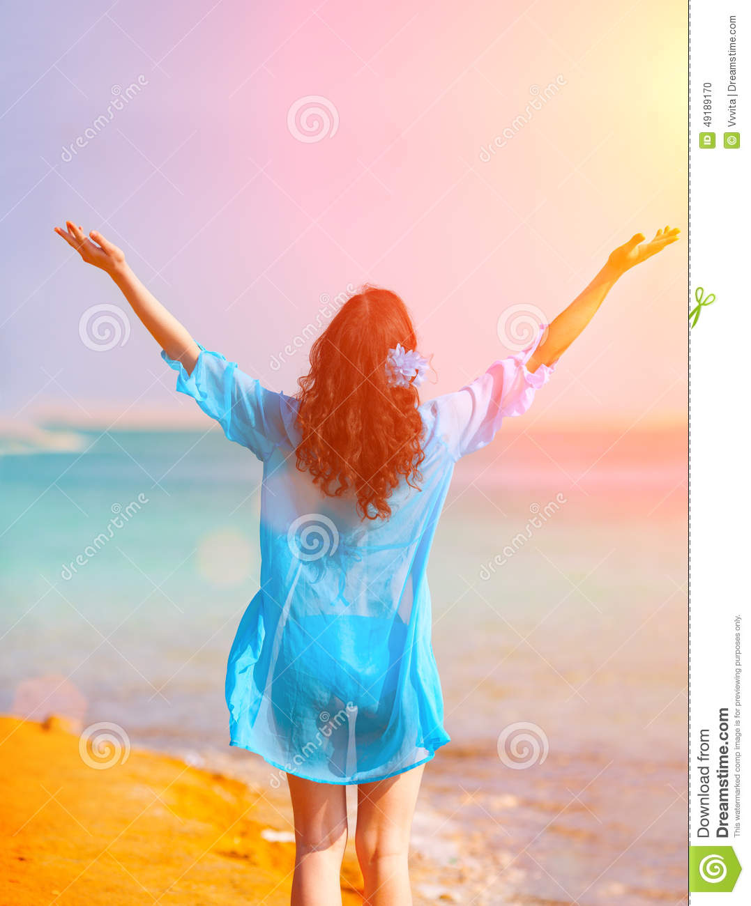 e3cec35e809 Happy Young Woman Enjoing The Sun Stock Photo - Image of israel ...