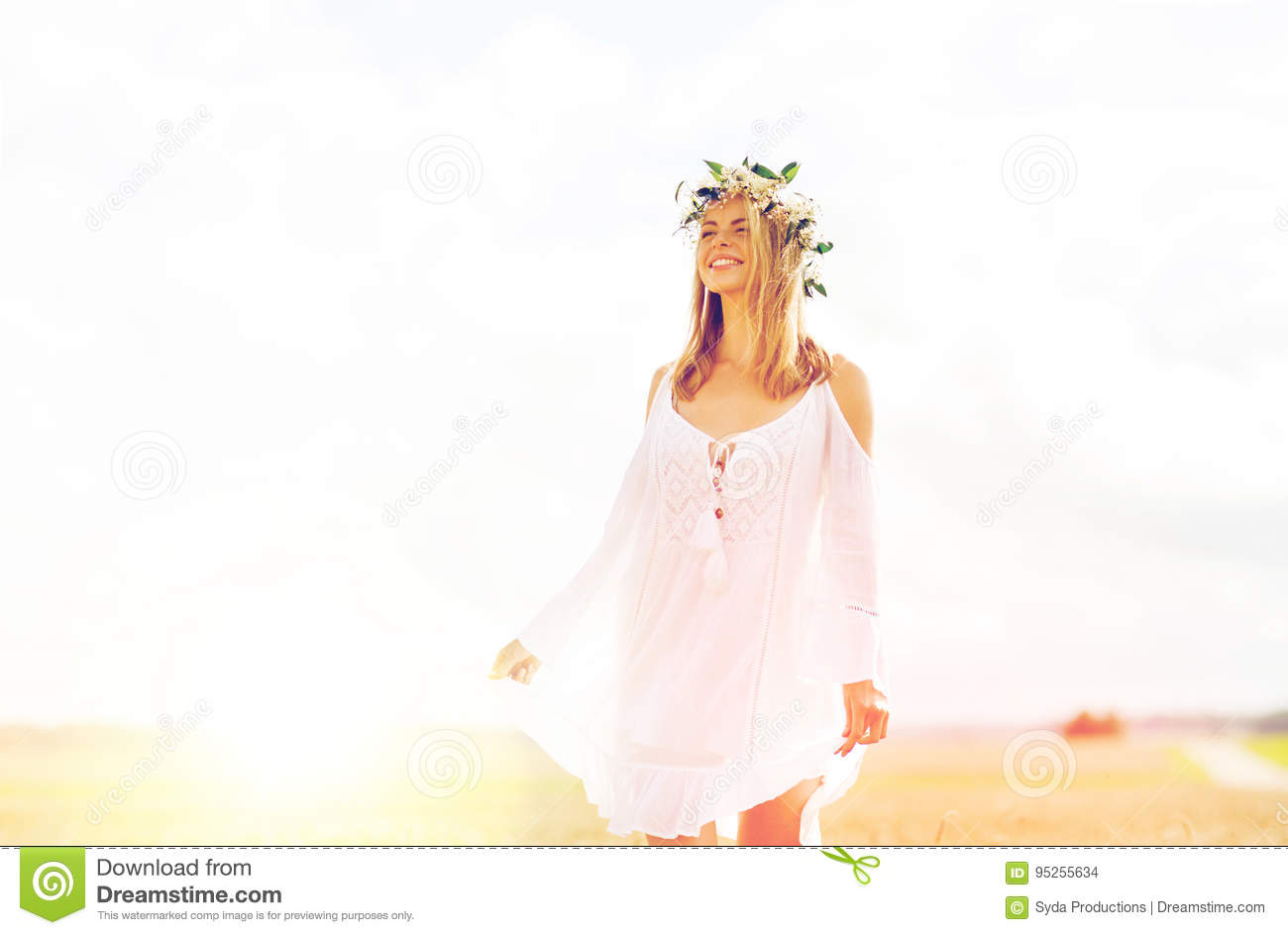 Download Happy Young Woman In Flower Wreath On Cereal Field Stock Photo - Image of freedom, field: 95255634