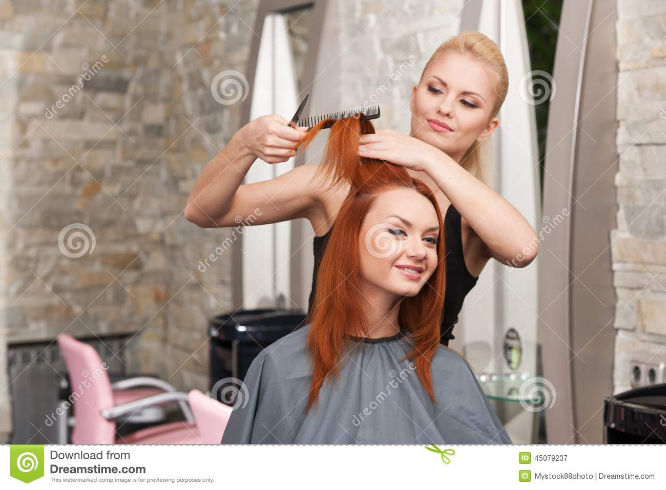 Happy Young Woman Getting A New Haircut Stock Image Image Of
