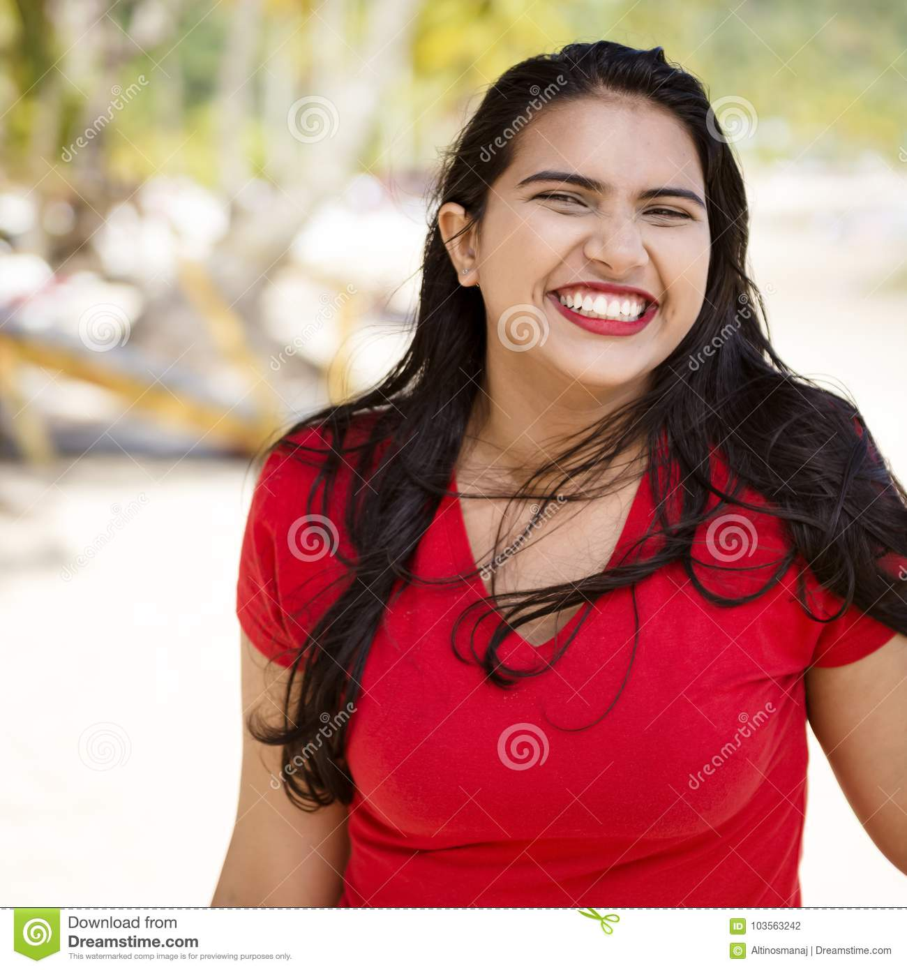 Happy Beautiful Woman Enjoying At Beach Stock Photo: Happy Young Woman Girl With A Big Smile By The Beach