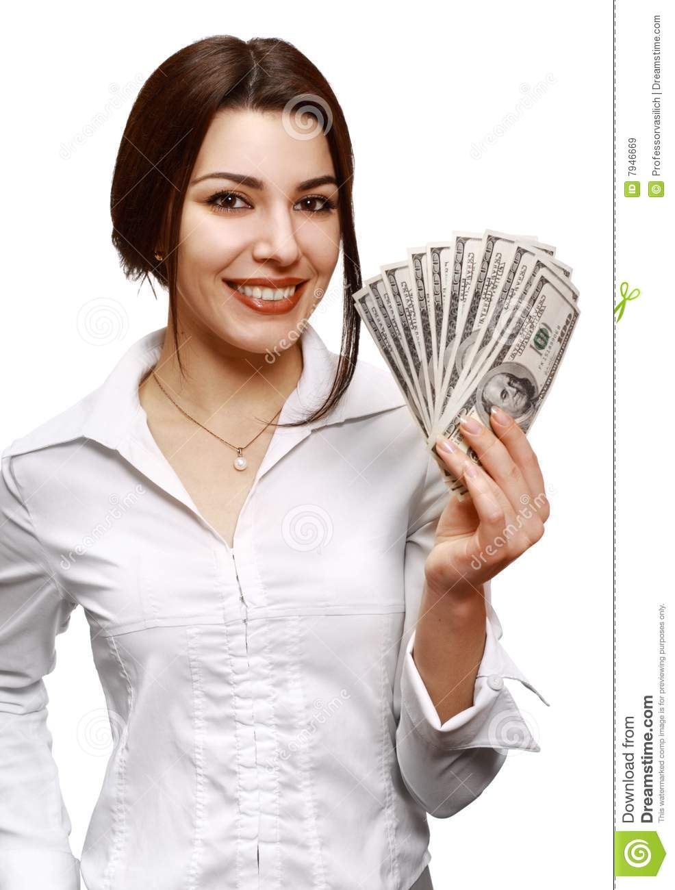 Happy Young Woman Holding Money Royalty Free Stock Images ...