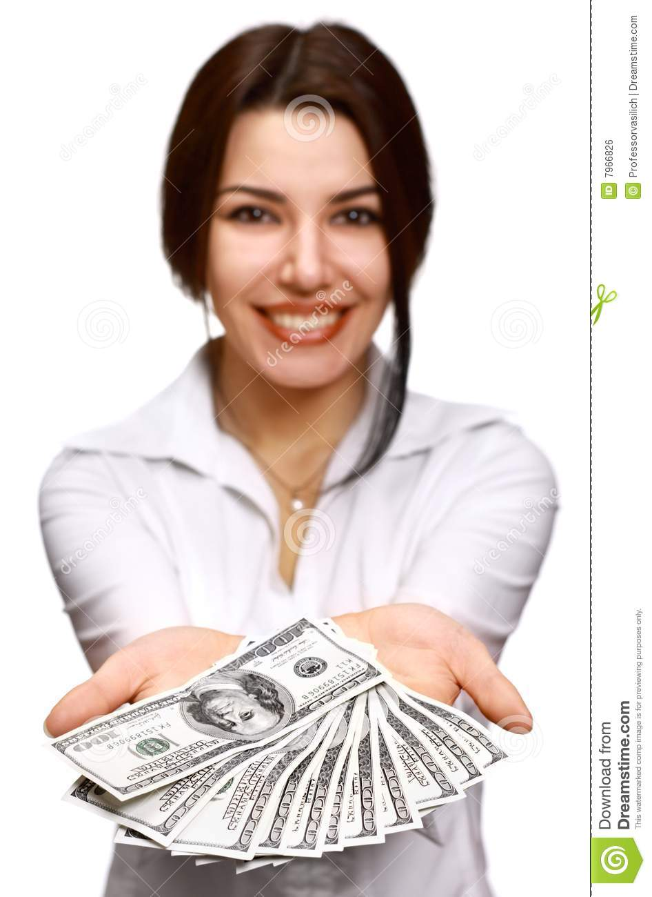 Happy Young Woman Holding Money Royalty Free Stock Image ...