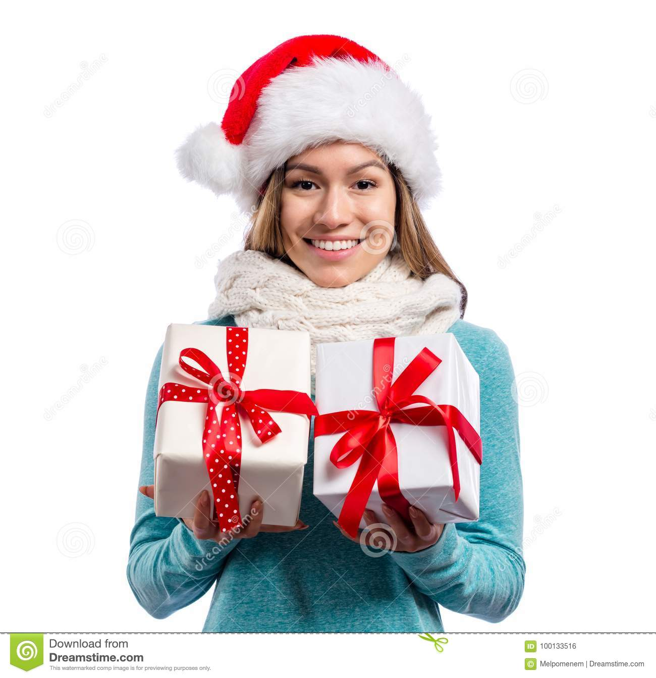 Young Woman Holding Christmas Gifts Stock Photo - Image of adult ...