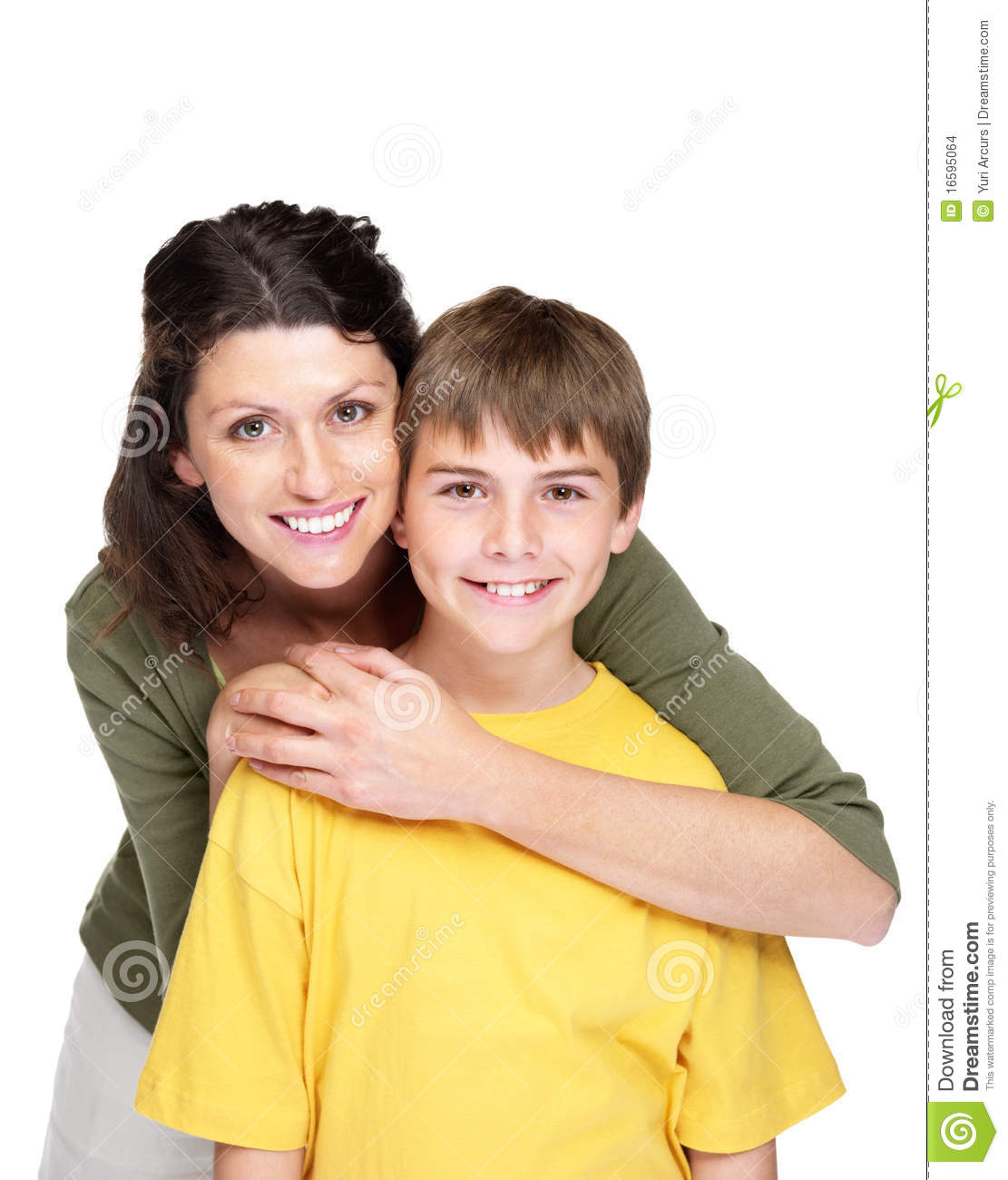 Happy Couple Sitting On Sandy Beach Embracing Kissing: Happy Young Woman Hugging Her Son Stock Photo