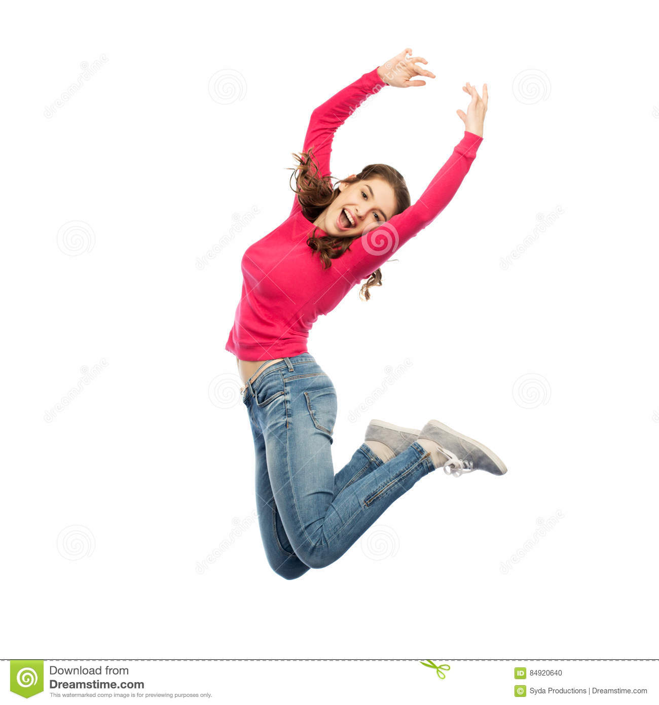 Download Happy Young Woman Jumping In Air Or Dancing Stock Photo - Image of carefree, flight: 84920640