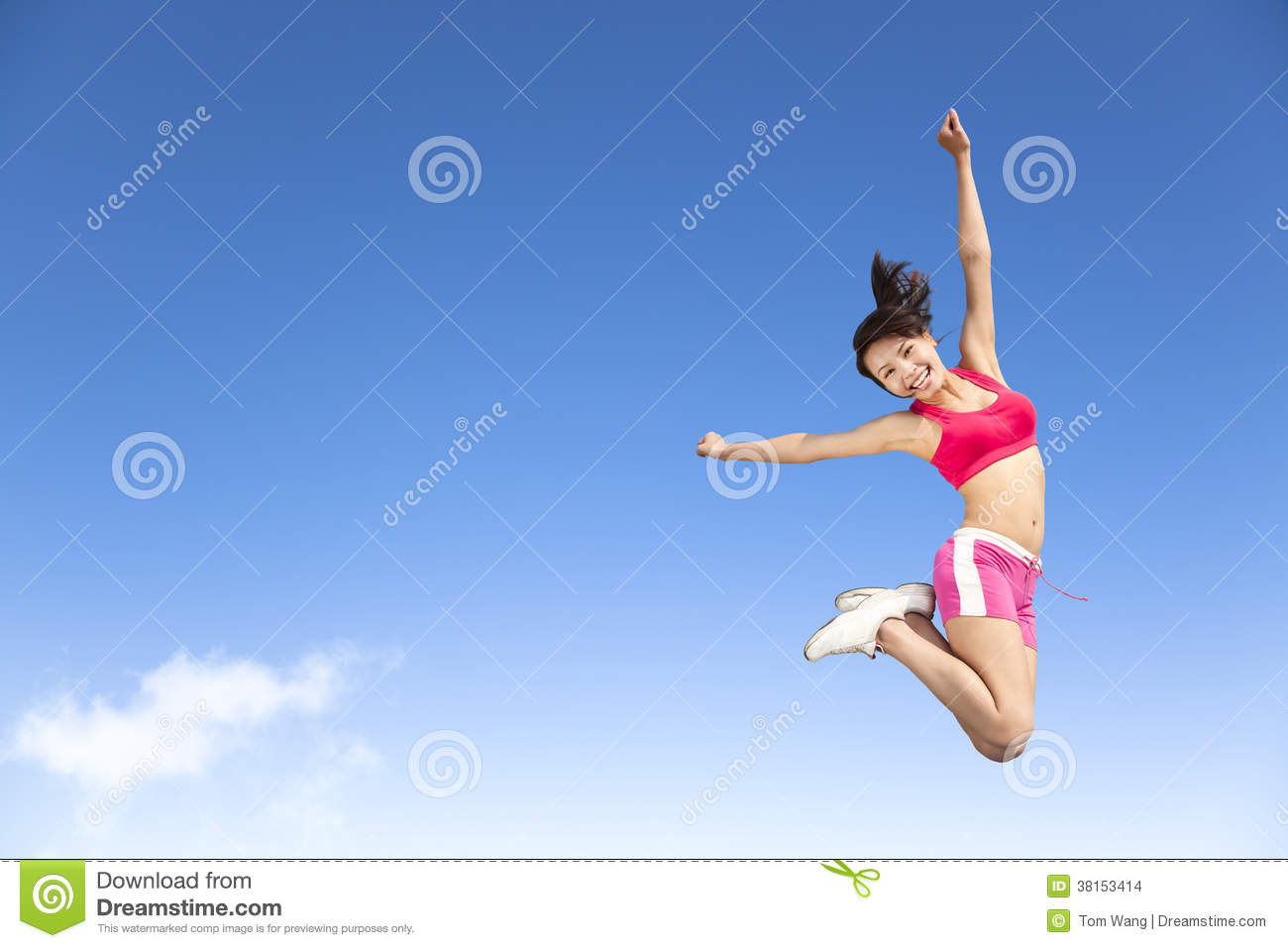 Happy Young Woman Jumping In The Sky Stock Photo - Image ...