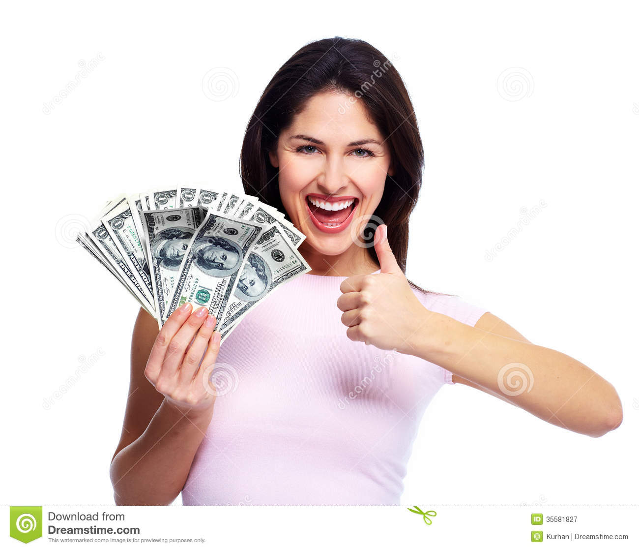Happy young woman with money.