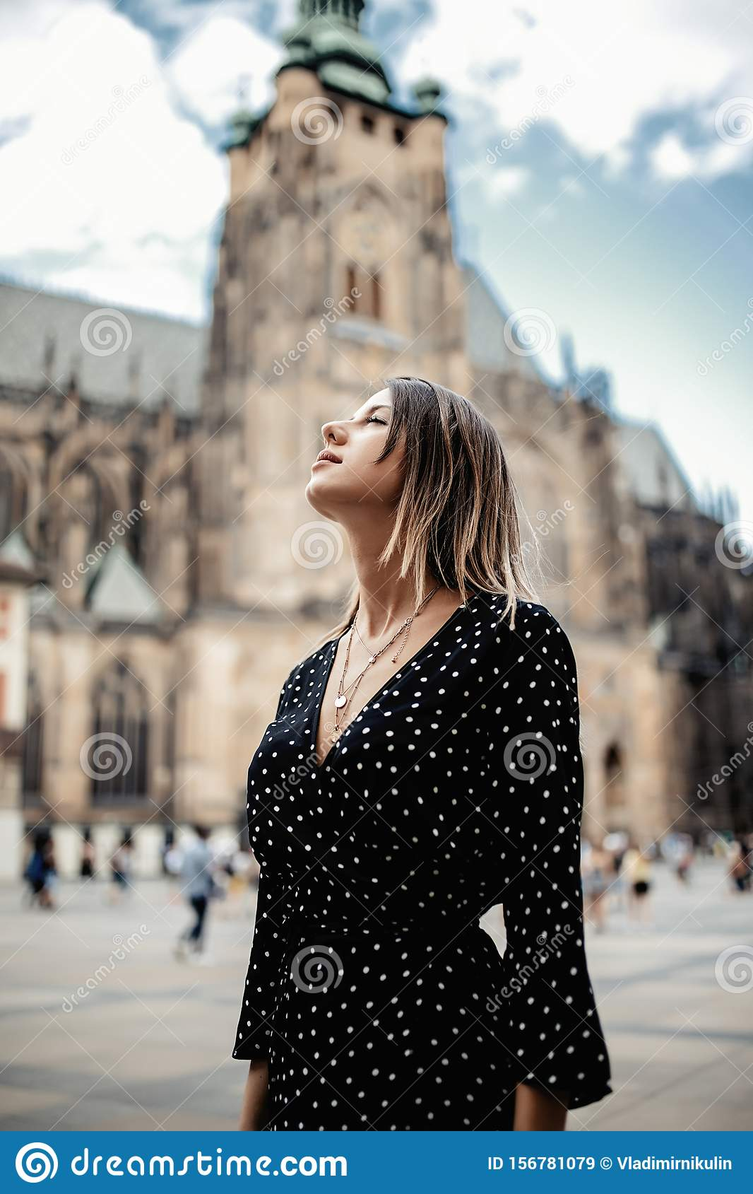Woman In Old Town Of Prague, Czech Republic Stock Image