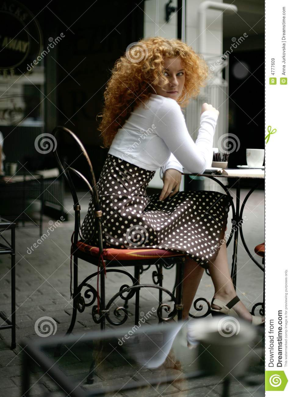 Happy Young Woman In A Paris Style Street Cafe Stock Image
