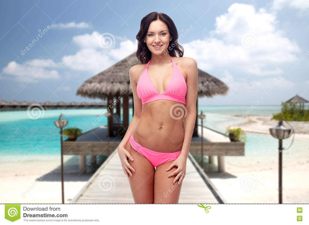 In Bikini Pink On Young Stock Swimsuit Happy Beach Woman Photo 2IeWYED9H