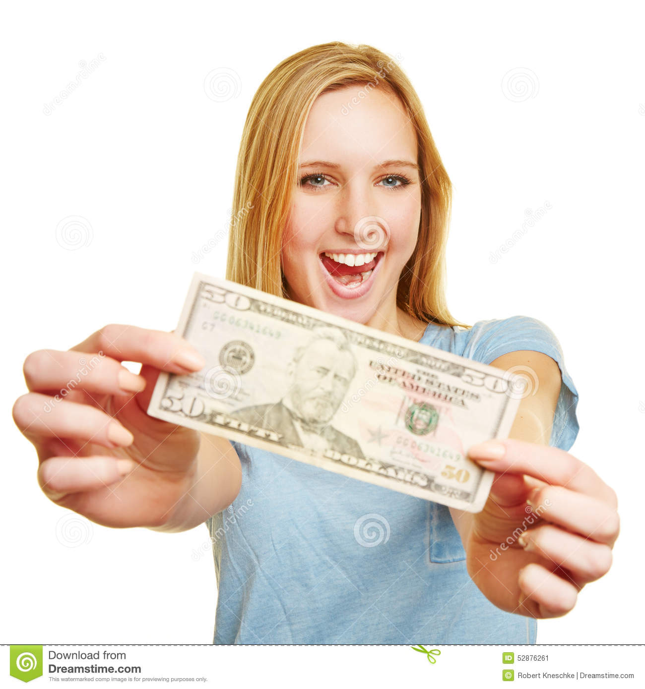 Happy young woman showing 50 dollar bill