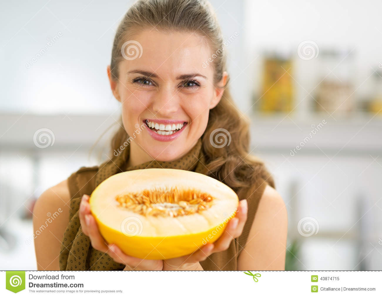 Happy Young Woman Showing Melon Slice Stock Image Image Of