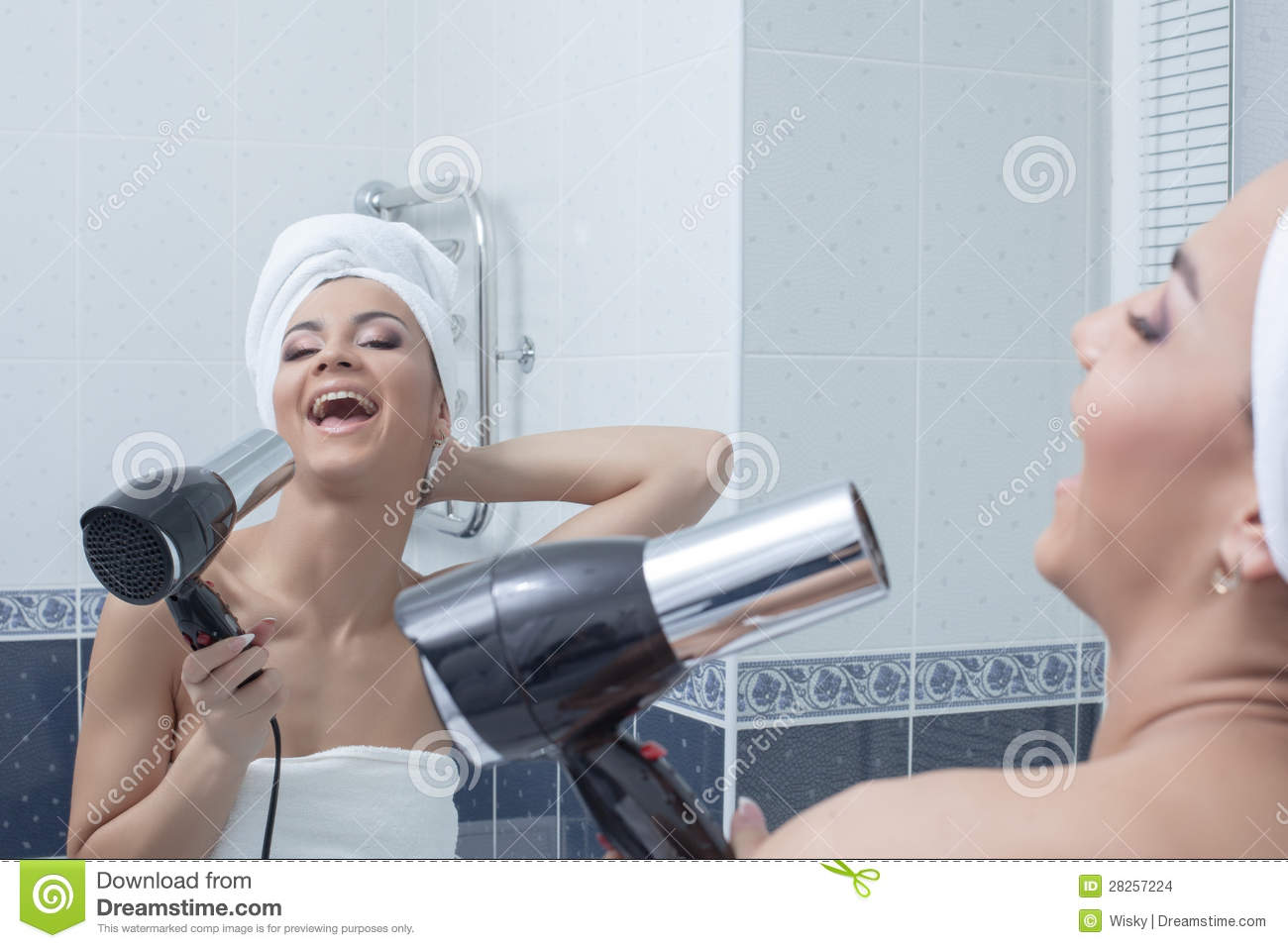 Happy Young Woman Singing In Bathroom Stock Images Image