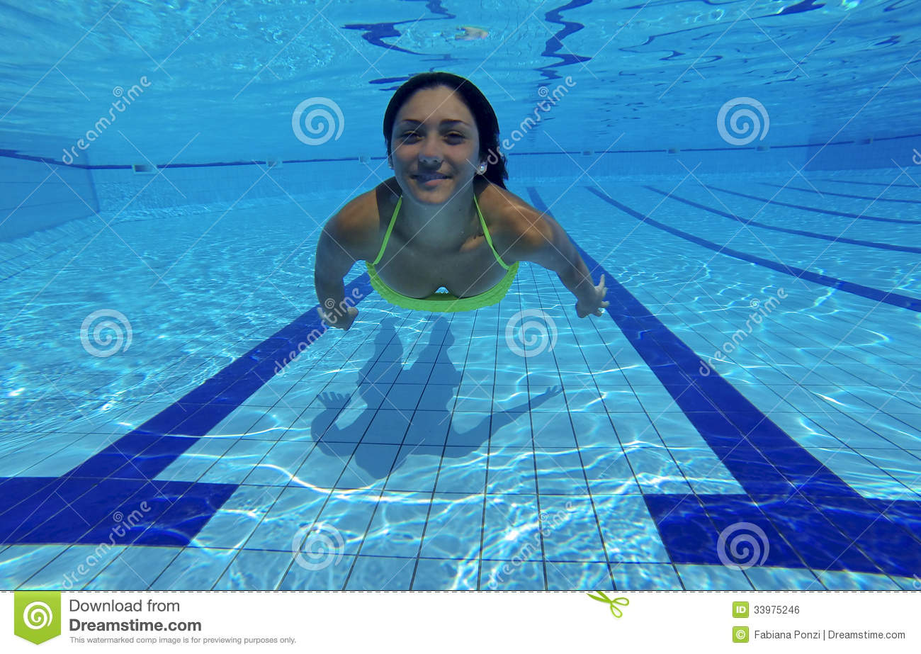 Happy Young Woman Swimming Underwater Smiling Stock Photo Image 33975246