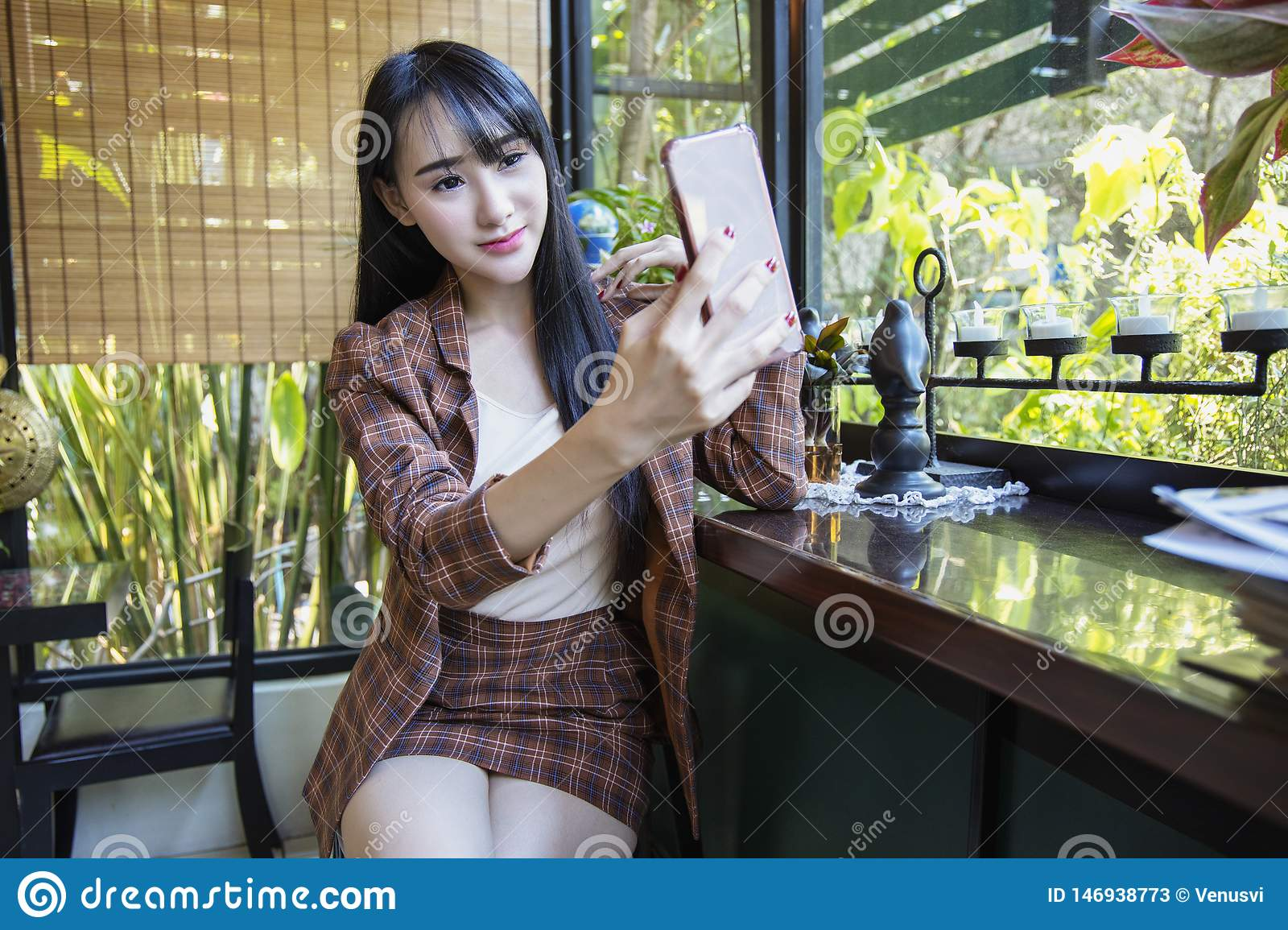 Fitness. Sport Woman Taking Selfie Photo On Mobile Phone