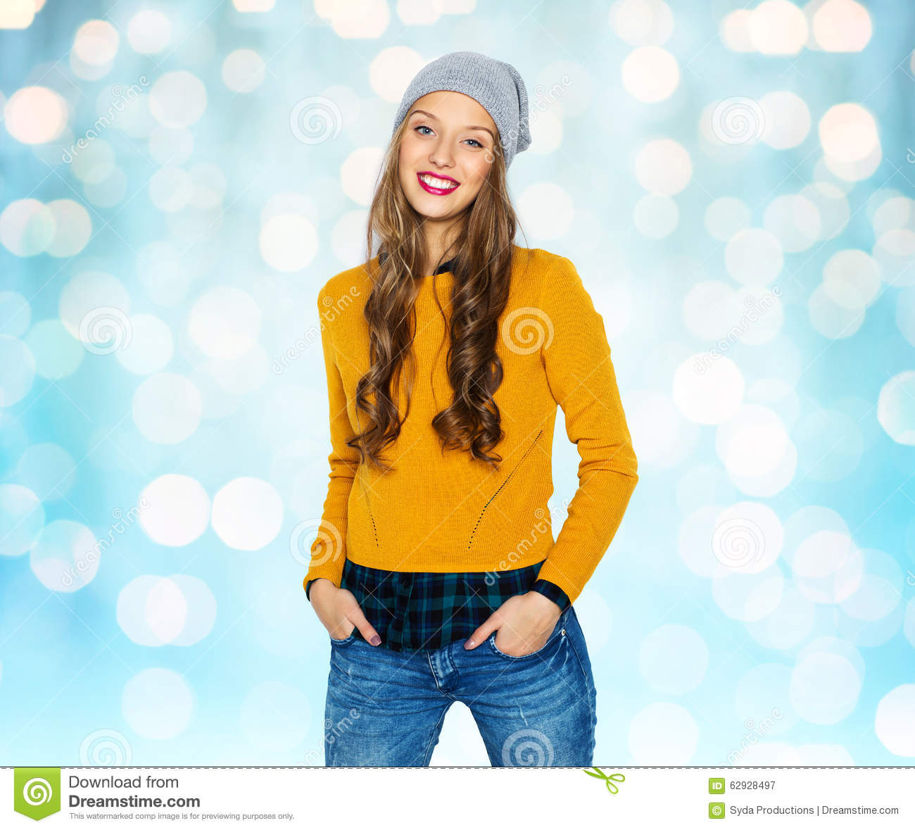 Happy Young Woman Or Teen Girl In Casual Clothes Stock Image Image 62928497
