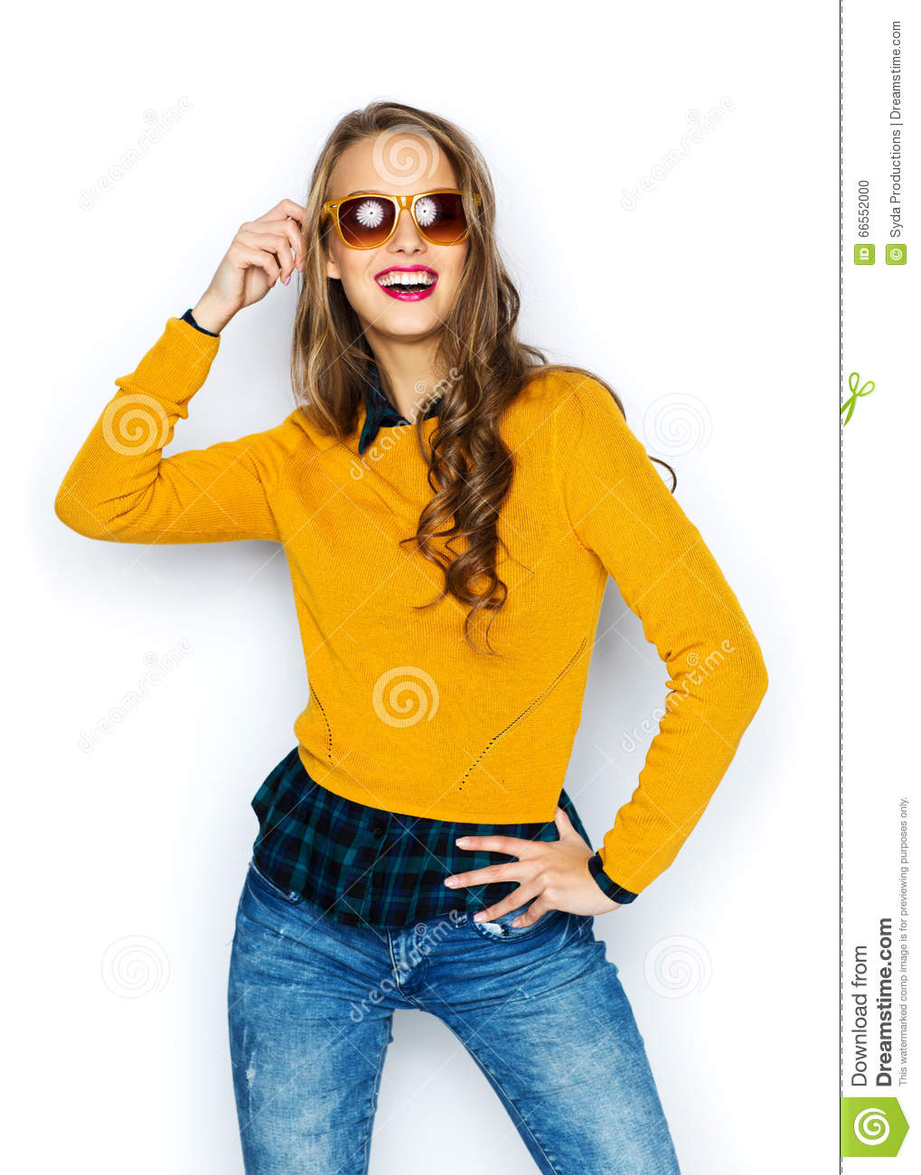 Happy Young Woman Or Teen Girl In Casual Clothes Stock Photo Image 66552000